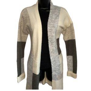DEX Patterned Neutrals Panelled Cardigan